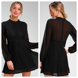 Lulus Black Lace Long Sleeve Sheer Back Mini Dress